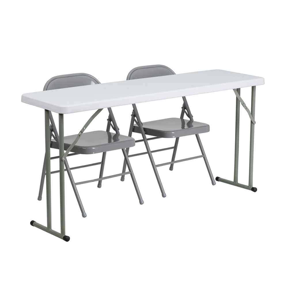 Flash Furniture 18 x 60 Plastic Folding Training Table with 2 Gray Metal Folding Chairs [863-RB-1860-1-GG]
