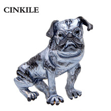 CINKILE New Blue Enamel Large Brooches for Women Cute Animal Dog Brooch Pins Carton Style Fashion Jewelry High Quality(China)