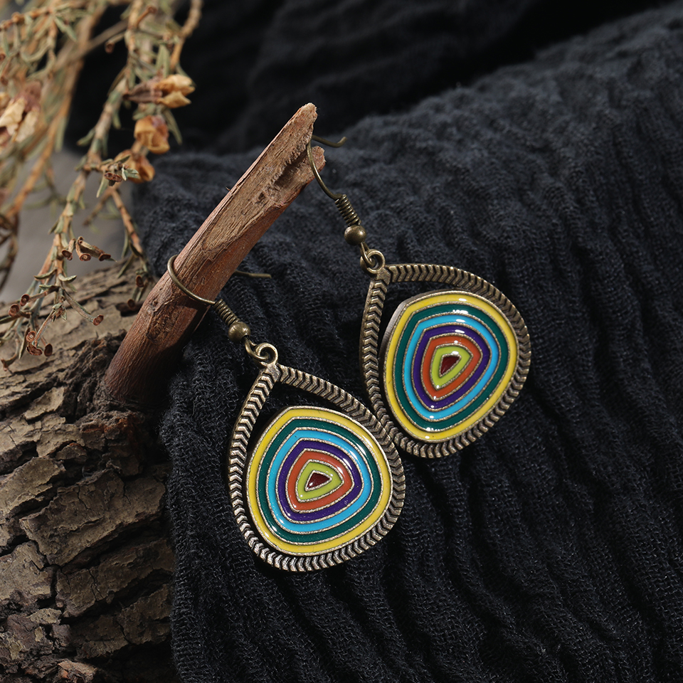 Bohemian Vintage Multicolor Round Pendant Earrings Boho Design Jewelry Fashion Woman Earring 2019 Jewelry Accessories Gifts