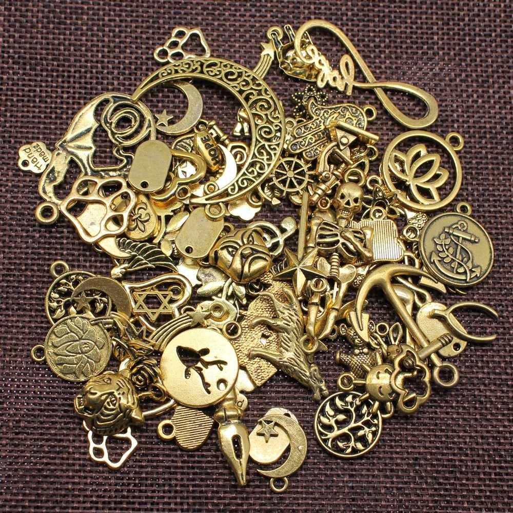 100Gram 3 Colors Antique Silver & Antique Bronze & Antique Gold Mix Designs Zinc Alloy Charms Pendant For Jewelry Making