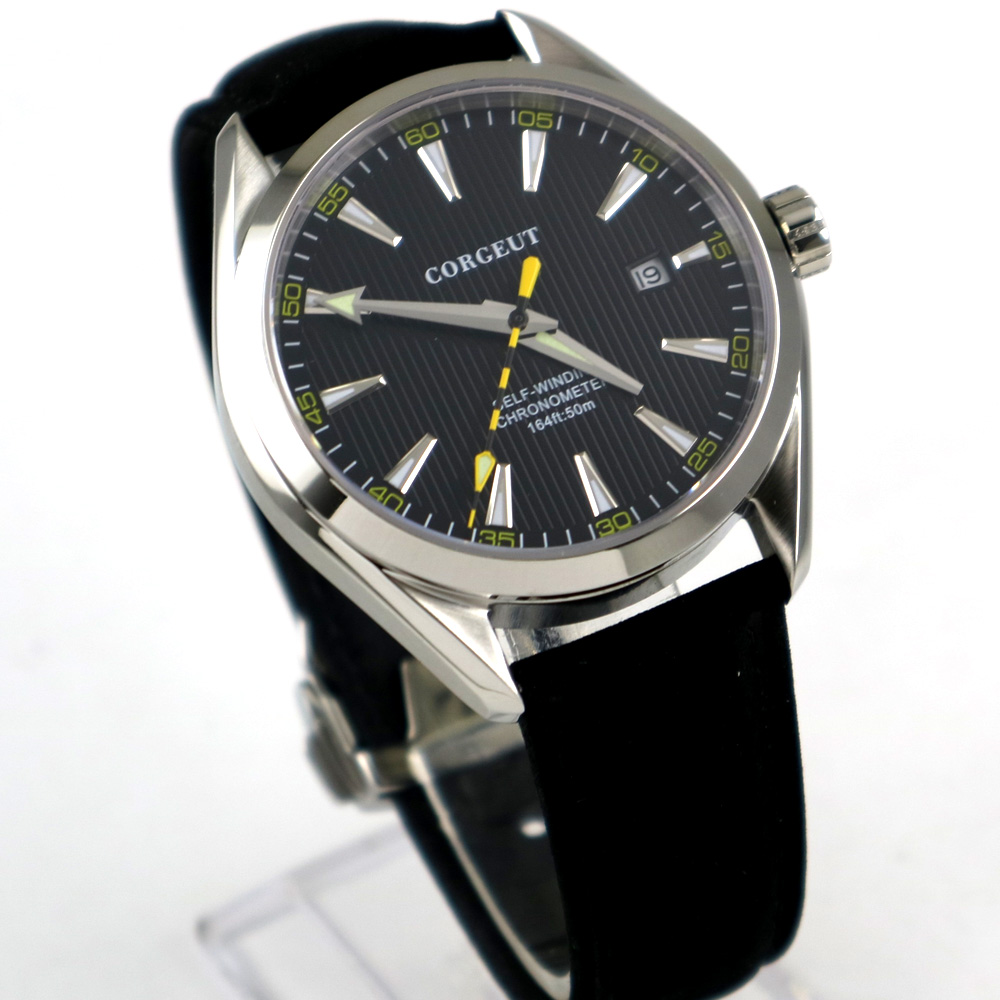 Polished 39mm corgeut black dial Sapphire Glass miyota 821A automatic mens Watch цена и фото