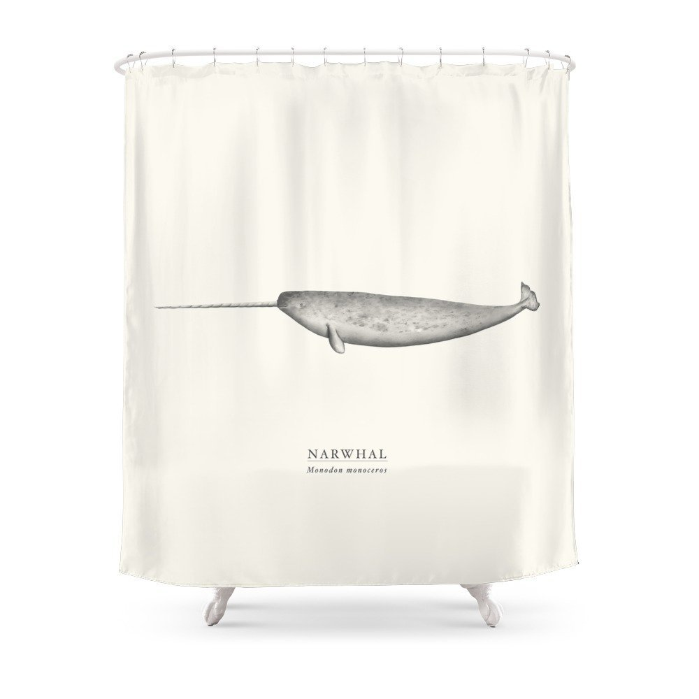 Narwhal Shower Curtain Waterproof Polyester Fabric Bathroom Decor Multi-Size Printed Shower Curtain with 12 Hooks