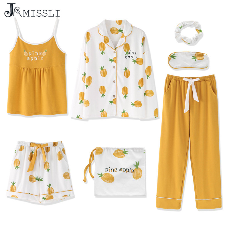 JRMISSLI 2019 Sleepwear Pyjamas Women 7 Pieces Pajamas Sets Yellow Pineapple Print Homewear Cotton Sleepwear Pyjamas Set Pijamas