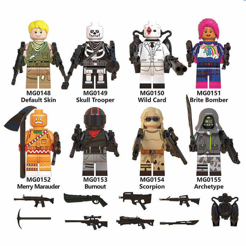 Single Sale LegoINGlys Fortress Night Skin Trooper Wild Card Brite Bomber Merry Bumout Scorpion Bricks Mini Figures Toys Gifts