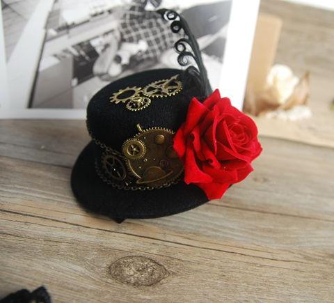 Gothic Mini Hat Victorian Steampunk Hairclip Deer Rose Women/'s Black Headwear