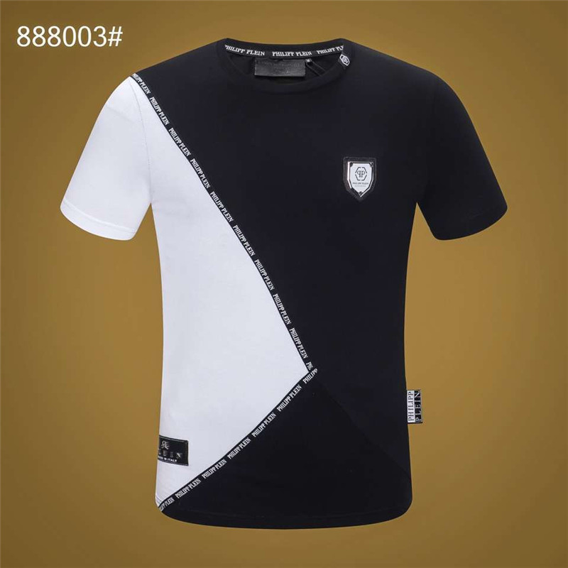 Wholesale Black and White Business Men Philipp Letter Pattern   T     shirt   PP Cotton Top Tees