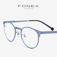 B Pure Titanium Eyeglasses Frame Men Ultralight High Quality Prescription Round Optical Myopia Glasses Frames Women Eyewear 7705