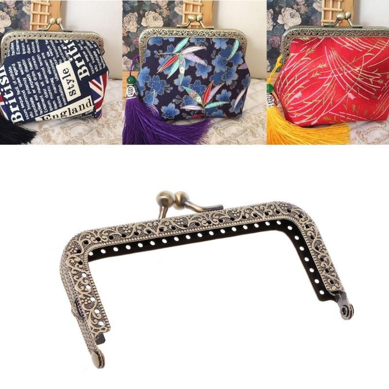 THINKTHENDO 1Pc DIY Purse Handbag Coins Bags Metal Kiss Clasp Lock Frame DIY Craft 10.5cm