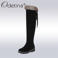 Odetina 2017 Neue Faux Wildleder Fell Über Den Knie Lange Winter Schnee stiefel Für Frauen Oberschenkel Hohe Winter Warme Schuhe Stiefel Große Größe 34-44