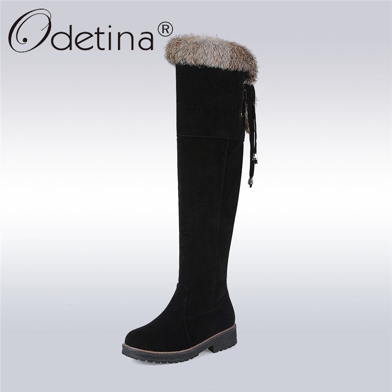 Odetina 2017 New Faux Suede Fur Over The Knee Long Winter Snow Boots For Women Thigh High Winter Warm Shoes Boots Big Size 34-44 new winter women over the knee thigh high boots sweet black brown ladies shoes a181h plus big size 45 10 11 warm fur