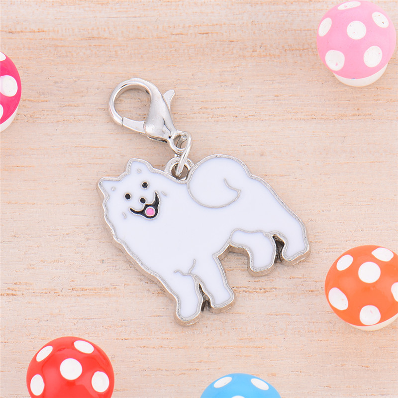 2 * 2.5 cm Metal Durable Dog Tag Samoyed Style Pet Decorations Key Ornaments High quality