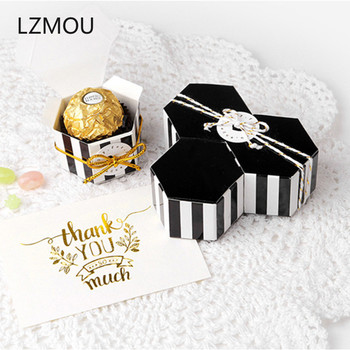 10pcs Mini Gold Black Color Hexagon Chocolate Dragee Wrapping Paper Cake Candy Gift Box Deco Mariage Wedding Cookie Packaging image