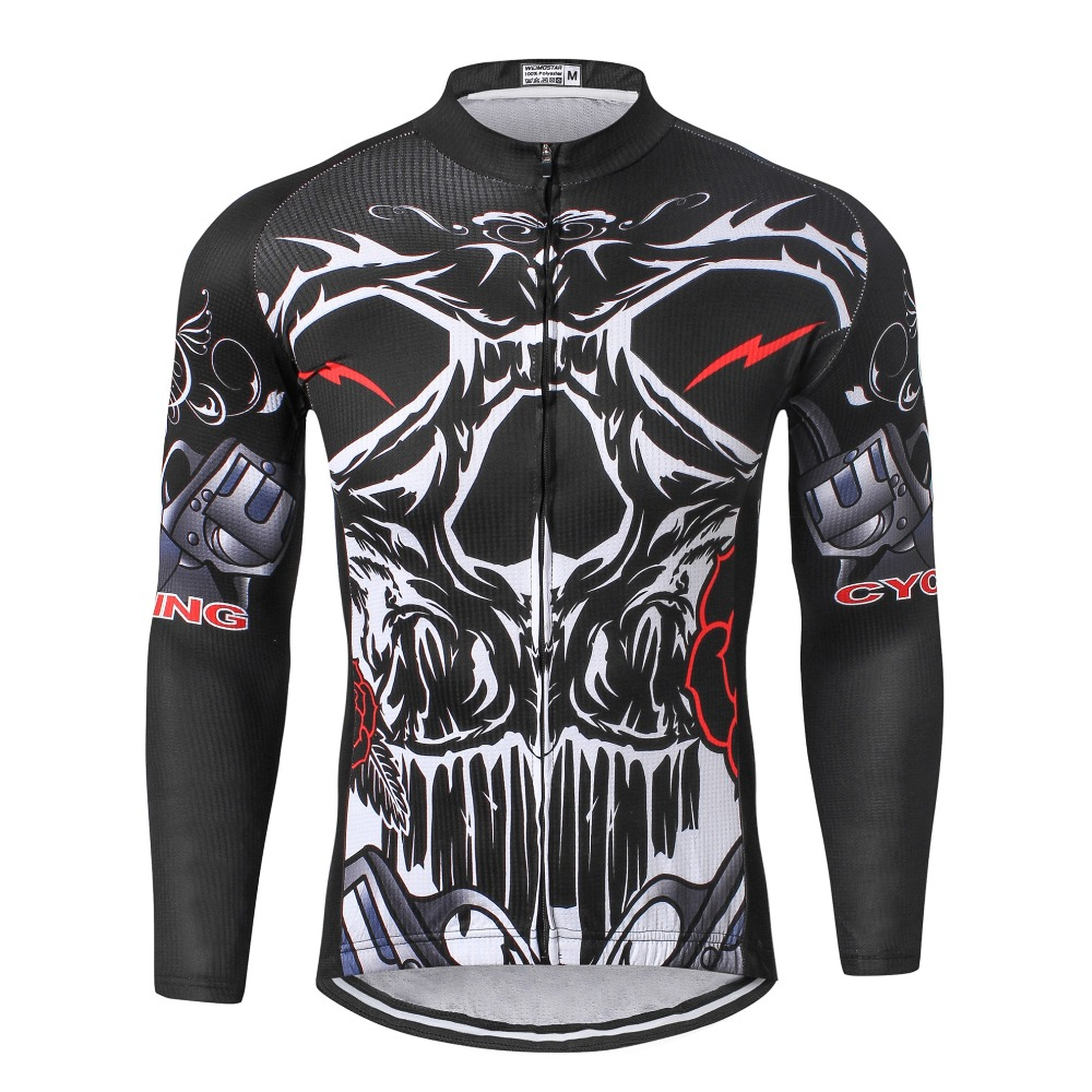 Burnning Skull Black MTB Pro Outdoor Cycling Jersey Coolmax Long Sleeve Ropa Ciclismo Bike Mens Outdoor Bicycle Jersey Jackets