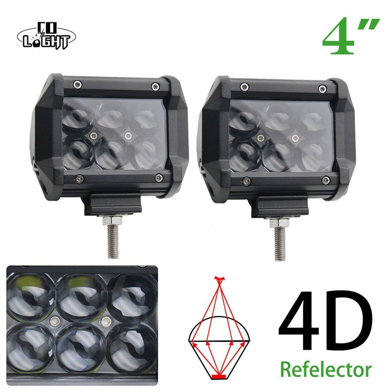 CO LIGHT 30W Led Working Light Led Chip 4D 4'' Front Light Spot Flood Beam for 4X4 4WD Off Road Lada Uaz Kia Jeep Ford Fog Light