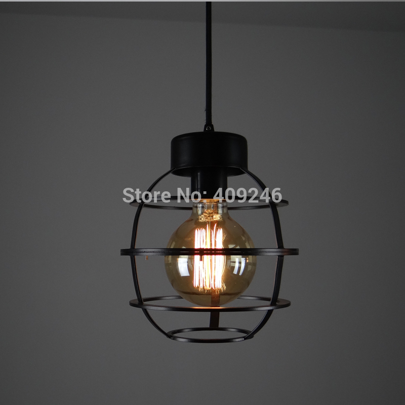 Loft Edison Industrial Vintage Wrought Iron Metal Circle Pendant Lights Retro E27 Base Cafe Shop Pendant Lamps Black Droplight edison industrial vintage metal pendant hanging lights cafe bar hall shop club store restaurant balcony droplight black decor