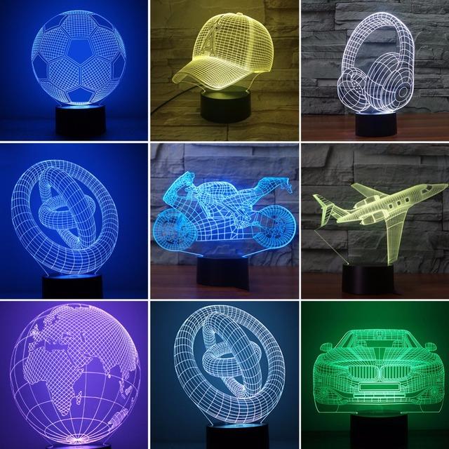 LED 3D nočné osvetlenie – laser hologram – (11 motívov) s USB napájaním