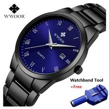 Brand WWOOR Watch Men Waterproof Luxury Casual Black Steel Men's Quartz Analog Watches Men Date Male Clock relogio masculino цена