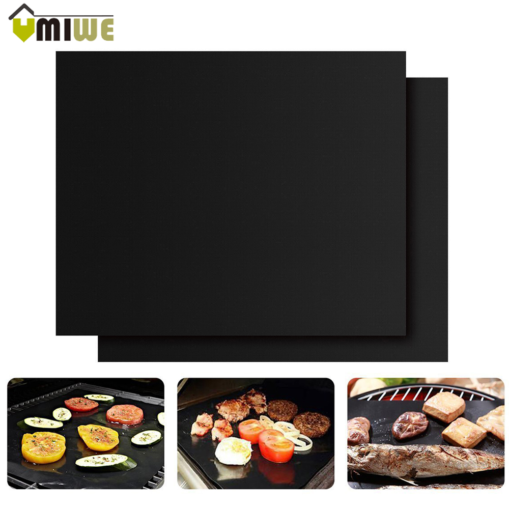 High Quality 2 Pcs Non-Stick Heat Resistant Grill Mats Durable BBQ Baking Mats Sheets Barbecue Grill For Outdoor Picnic Camping