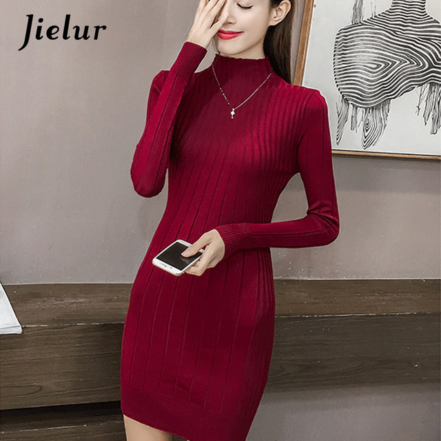 8e415f11b Jielur Outono Nova camisola de Gola Alta de Malha Feminina Vestido Coreano  Manga Longa de Cor