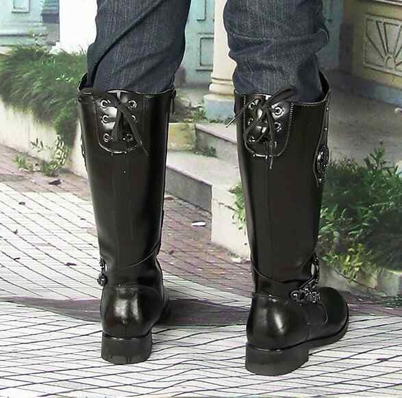 Reale Del Cuoio Genuino Degli Uomini di Modo Fibbia Cowboy Esercito Stivali Scarpe a Punta Inverno Breve Peluche Lunga Cavaliere Militare Stivali da Combattimento