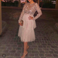 On Sale Long Sleeves Cocktail Dresses 2018 Simple design knee length Graduation party Dresses tiered prom dress