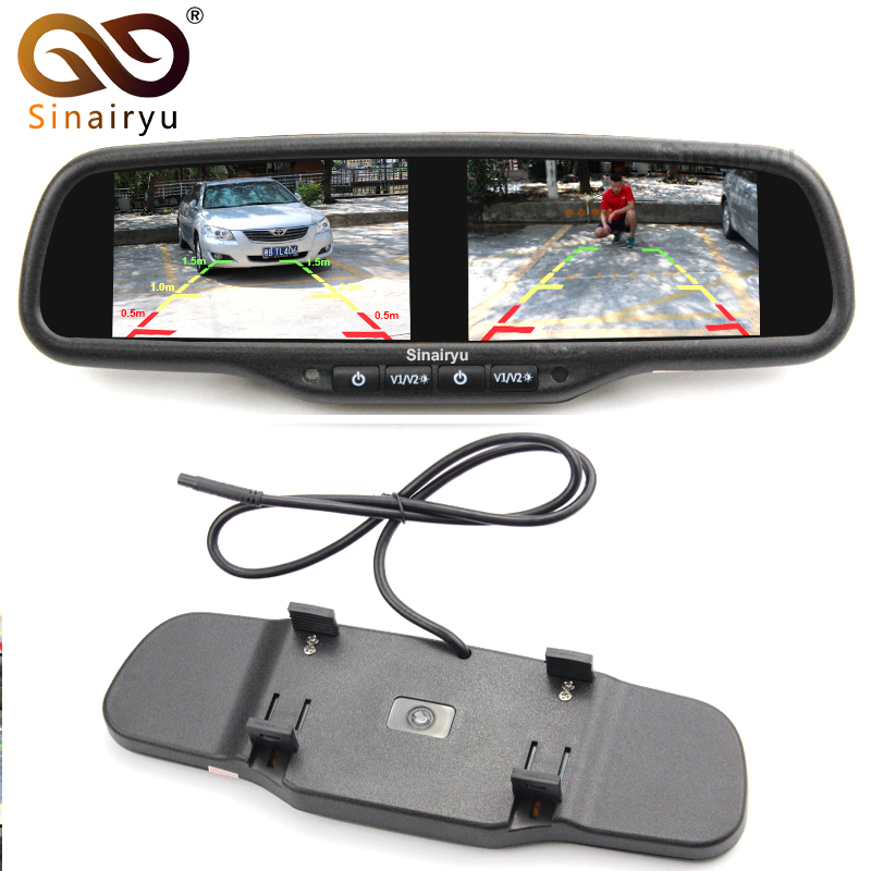 4.3 Inch Dual TFT LCD Screen Car Reverse Rear View Mirror with Monitor Video Player for Car Rearview Backup Parking Camera/DVD 9 inch color tft lcd car monitor display reverse priority with 2 video input backup reverse camera free shipping usb sd