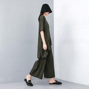 Image 3 - Женский костюм из двух предметов EAM, черный свободный костюм с V образным вырезом, коротким рукавом и широкими штанинами, большие размеры, весна осень 2020