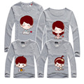 2016 New Family Look Cartoon Long T Shirts 7 Colors Summer Family Matching Clothes Father Mother Son Daughter Cartoon Outfits