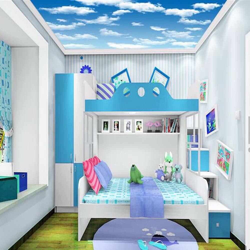 Kids Bedroom Wallpapers For Ceilings Blue Sky Clouds Photo Murals - Kids bedroom ceilings