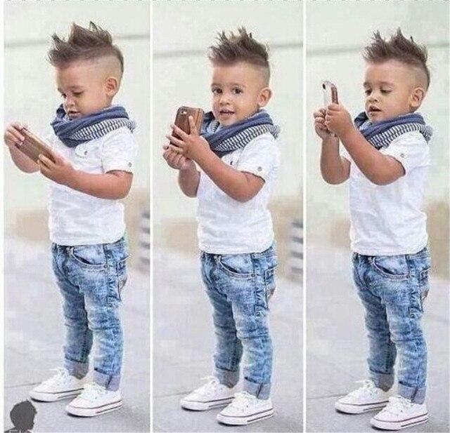 9f93d5f791be 2018 European pop children summer denim clothing set baby boys short sleeve  T shirt + jeans + scarf 3 pcs set kids clothes suit