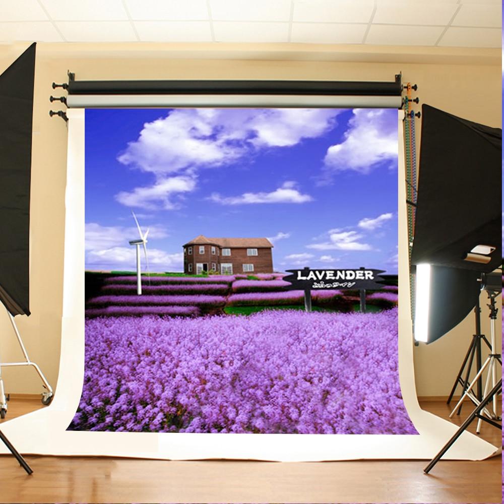 Wedding Background Purple Flowers Garden Digital Printing Background House Windmill Blue Sky Background for Photographic Studio сумка golla garden s g277 blue