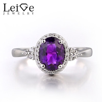 Leige Jewelry Natural Genuine Amethyst 925 Sterling Silver Ring Gemstone Oval Cut Engagement Promise Ring Jewelry