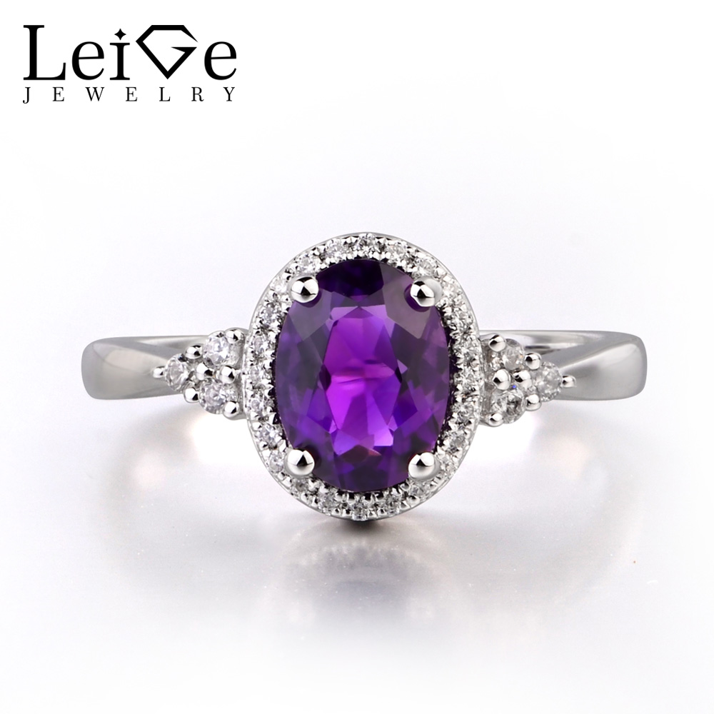 Leige Jewelry Natural Genuine Amethyst 925 Sterling Silver Ring Gemstone Oval Cut Engagement Promise Ring Jewelry Gifts for Her repair parts replacement stainless steel screws pack for iphone 4 40 piece pack