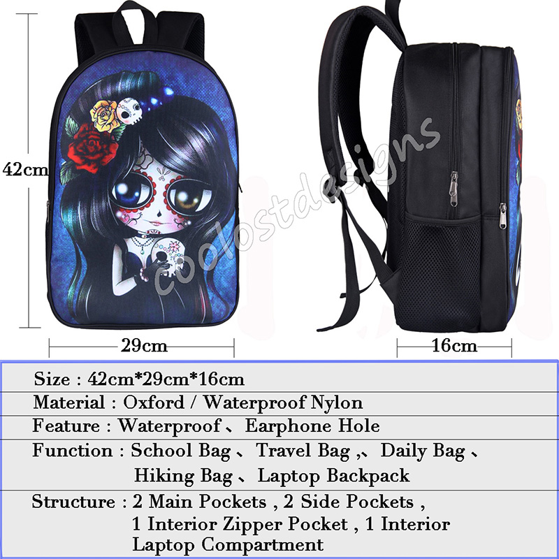 66aa8a4c4 Cool Death Skull Backpack for Teenagers Eagle Children School Bags ...