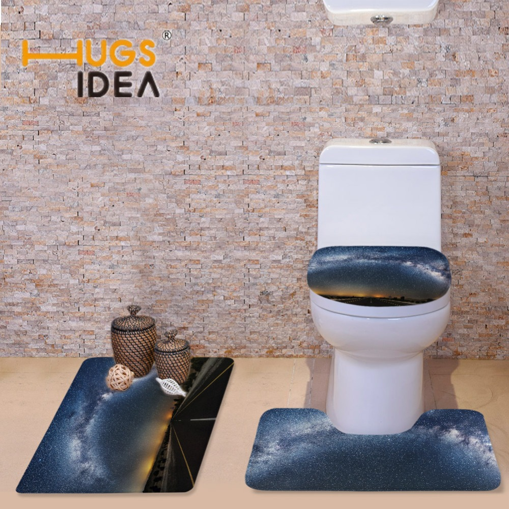 Wall to wall bathroom carpet - Hugsidea Area Rugs Toilet Seat Cover Galaxy Space Print Warmer Soft Bathroom Carpet Slip Resistance Carpets