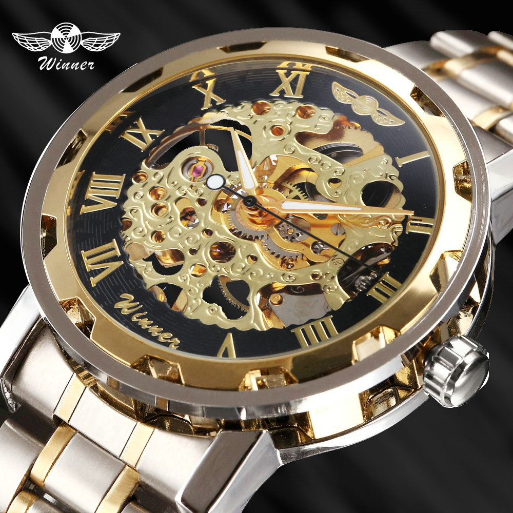 T-WINNER Wristwatch Mechanical-Watch Skeleton Golden-Watches Classic Luxury Strap Stainless-Steel