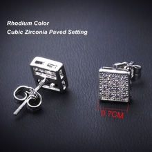 DreamCarnival 1989 Square Button CZ Stud Earrings for Women Deluxe Boucles d'oreilles Party Jewels brinco feminino zirconia luxo