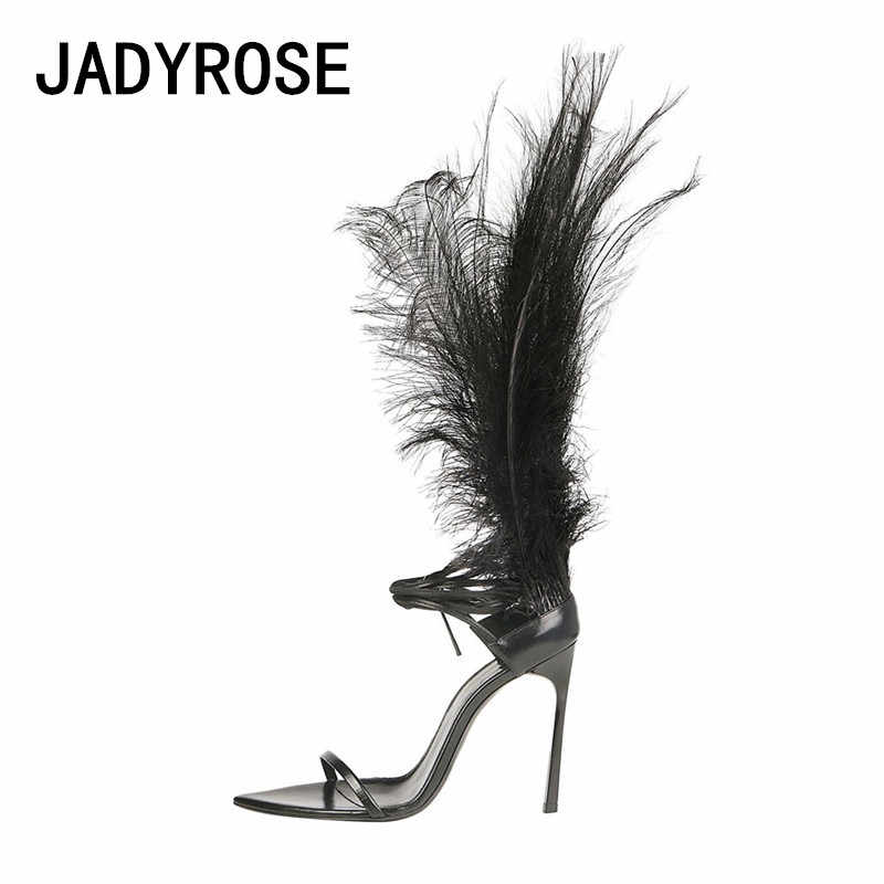 3fabee4e5a6 Women Feather Summer Sandals Black Leather Ankle Strap Sandalias ...