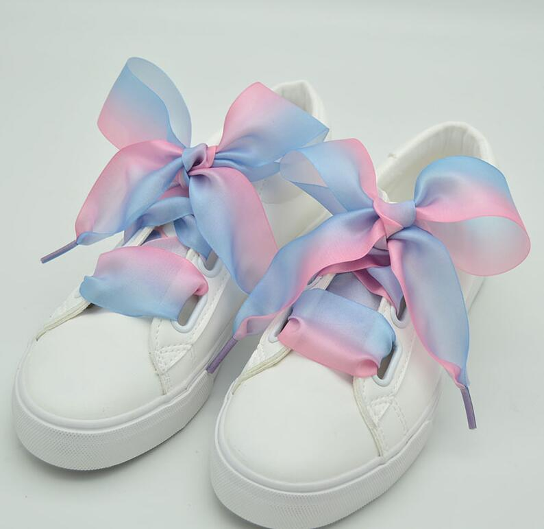 Candy Color Wide Flat Silk Ribbon Shoelaces Shoe Laces Sneaker Party Sport Ropes