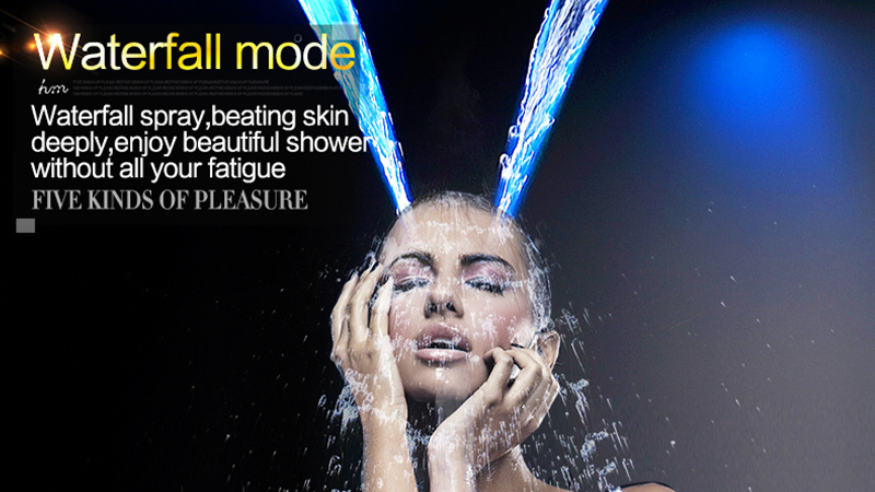 Luxury Led Rain Shower Head Large Rain LED Shower Set with Waterfall Shower Head with Embedded Ceiling 600x800 Rainfall Spout (15)