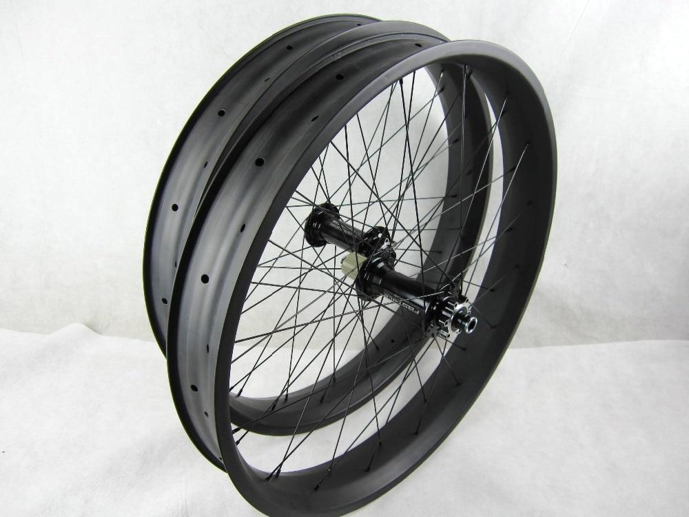 Libero di trasporto del carbonio grasso bici ruote 80mm 26 pollice Grasso Carbonio Della Bici del wheelset thru axle 150 135*15 /197 190*12mm ruota