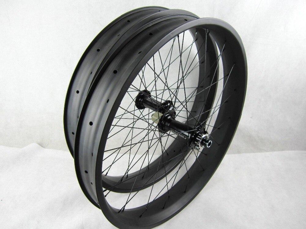 Livraison gratuite graisse de carbone vélo roues 80mm 26 pouce Graisse de Carbone Vélo De roues axe traversant 150 135*15 /197 190*12mm roue