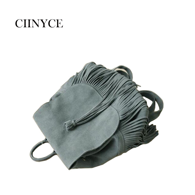все цены на Women Small Genuine Suede Feminine Tassel Backpack Bohemian Boho Chic Ibiza Mini Bucket Fringe Tassel Brown Grey Rucksuck Bags онлайн