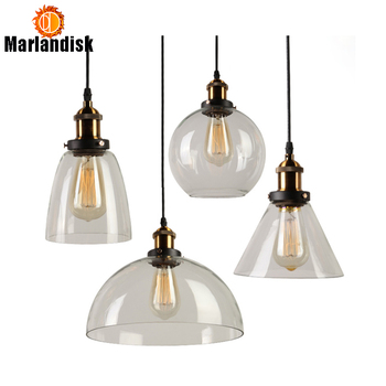 Vintage Clear&Amber Glass Pendant Lights Glass Lampshade Loft Pendant Lights E27 110V 220V Hanging Lights  For Dinning Room