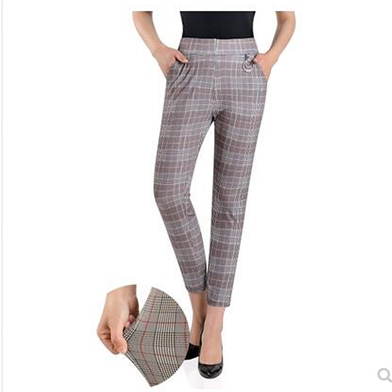 Image 2 - 2019 Women plus size Plaid Pants Ankle Length High Waist summer Fitness Trousers Plus Size 3XL 4XL 5XL streetwear-in Pants & Capris from Women's Clothing