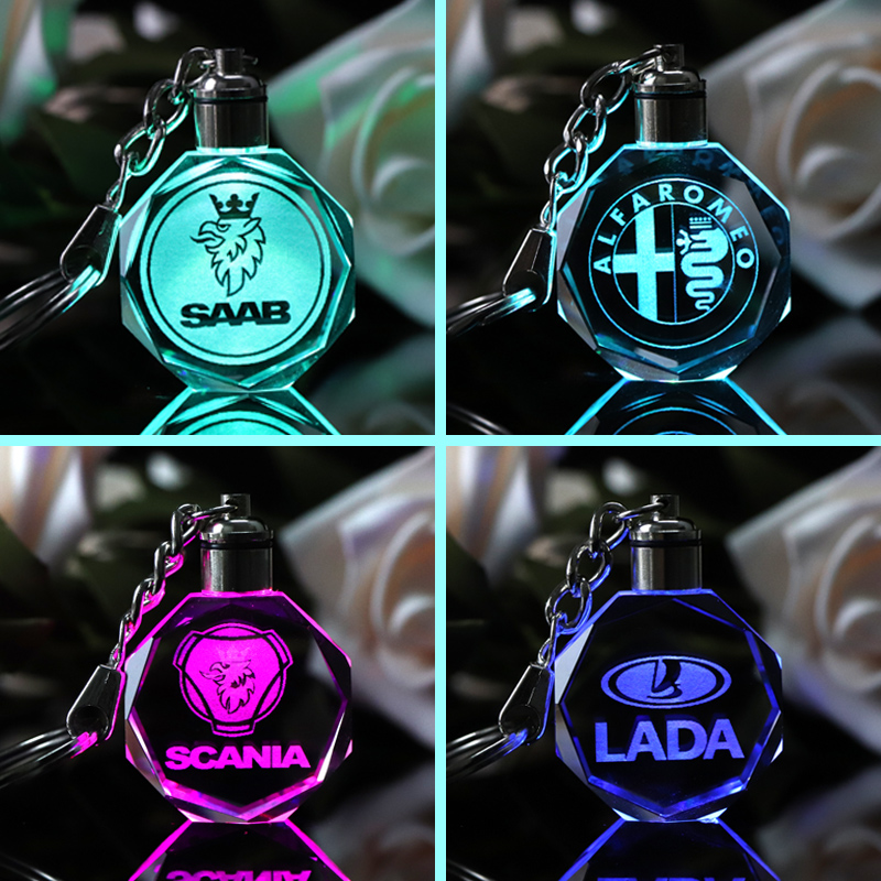 Customized Car Logo Keychain Laser Engraved Crystal Keyring Styling Keychain with Colorful LED Light Souvenir Gift Drop Shipping car styling keychain