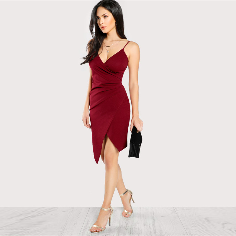 COLROVIE Ruched Overlap Form Fitting Cami Dress 2017 Burgundy Spaghetti Strap Sleeveless Slip Asymmetrical Party Dress With Zip 7