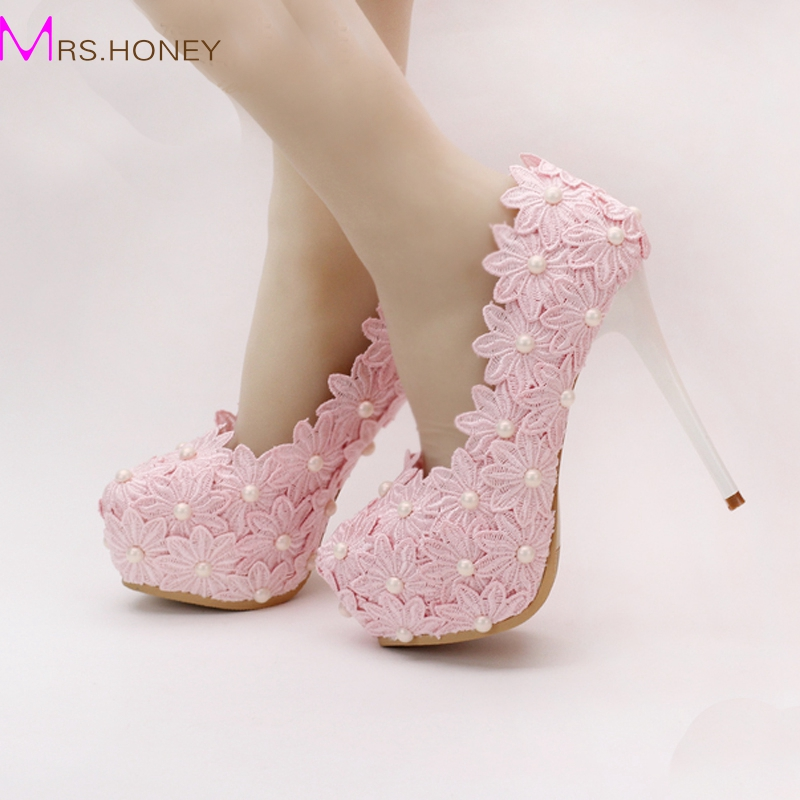 Aliexpress Buy 2016 Beautiful Pink Lace Flower Wedding Shoes Round Toe Women Formal Dress