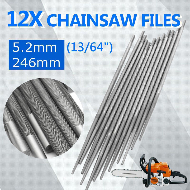 DWZ 12PCS 5.2mm 13/64'' Chainsaw Round Sharpening Files Sharpener For 3/8 Chain dwz 12v electric handheld saw filing chainsaw chain sharpener 585015 prev 519214