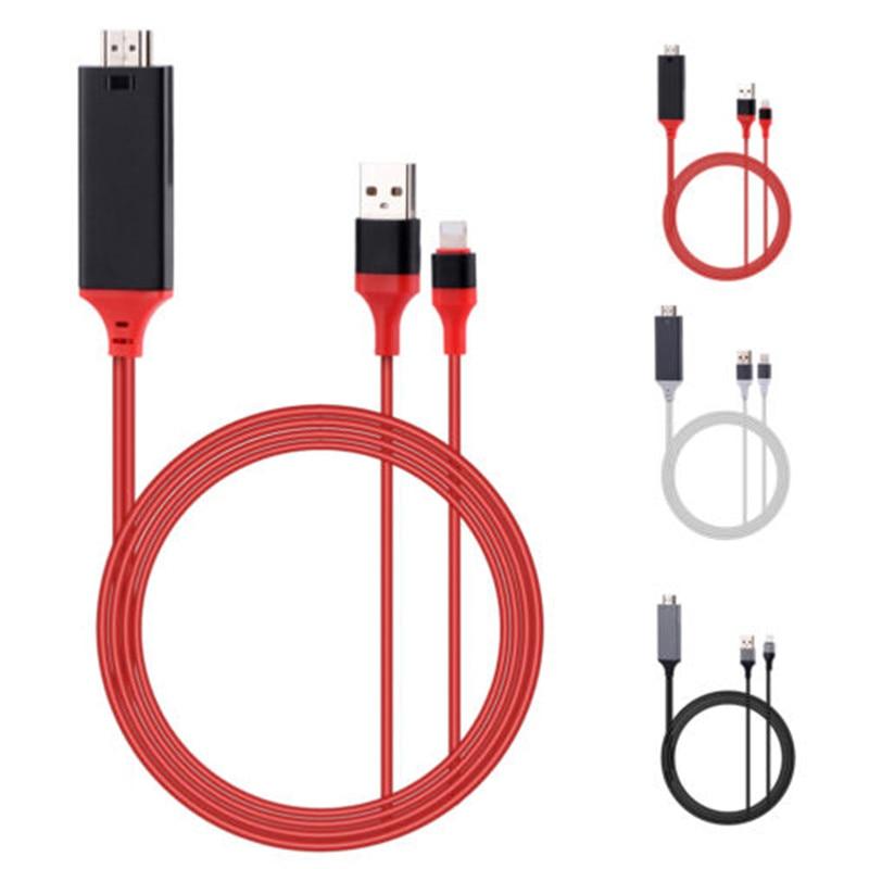 1 Pièce 2 M USB 8 Broches vers HDMI HDTV AV Câble Adaptateur pour iPhone 7 7 Plus 6 S 6 Plus 5S 5 Adaptateur De Charge Câble 0.11